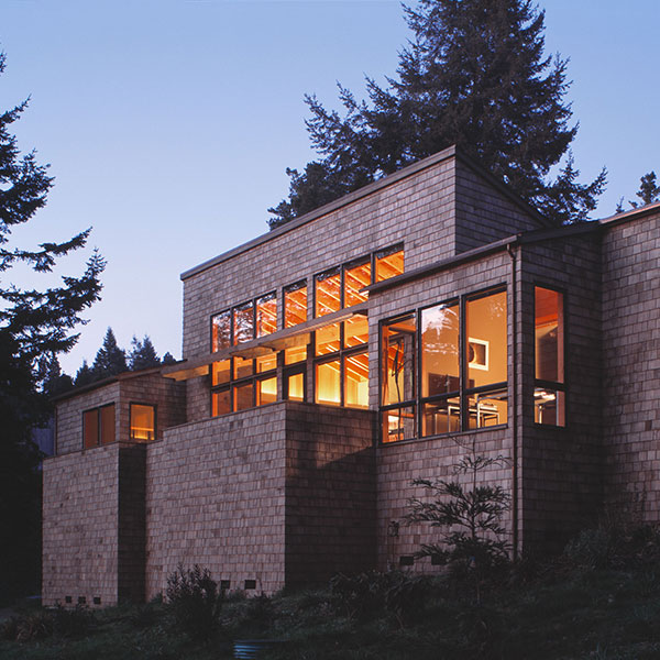 Exterior of sea ranch home at night